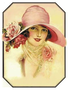 "ART PRINT - ""ART DECO FLAPPER GIRL IN PINK HAT"""