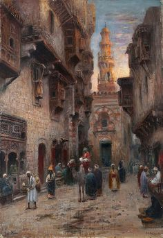 Street in Cairo (Gata i Kairo) (Frans Wilhelm Odelmark - ) Arabian Art, Islamic Paintings, Kairo, Old Egypt, Desert Art, Muse Art, Egyptian Art, Ancient Art, Islamic Art