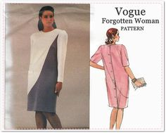 Vogue Plus Size Sewing Pattern - Vogue 2101 Forgotten Woman - Woman's Color Block Dress - Size 14 16 18 Bust 36 38 40 - 1980s Sewing - UNCUT by EightMileVintageSews on Etsy