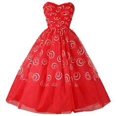 Pre-owned Vintage 1950's Red Chiffon Glitter Swirls Dress ($325) ❤ liked on Polyvore