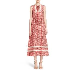 kate spade new york 'posy ikat' print dress ($448) ❤ liked on Polyvore featuring dresses, red chestnut multi, sleeveless dress, circle skirt, long flared skirt, kate spade dresses and long lace dress