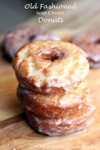 Old Fashioned Sour Cream Donuts are so delicious with a glass of apple cider! Perfect for Fall!