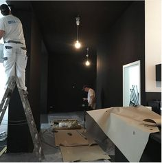 Saturday Action II: White office is now black! White Office, Interior Architecture, Action, Building, Black, Home Decor, Homemade Home Decor, Group Action, Black People