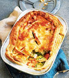 Chicken pot pie with tarragon and leeks