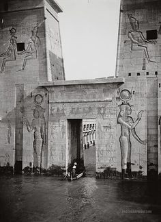 Entering on boat into the Temple of Isis. Philae, Egypt. 1900-1920. It was flooded because of Aswan Low Dam (built in 1902.) until relocation in 1960.