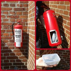 A creative geocache container. This would take some work to make but would be a good hide for at a fire station (with permission of course). I'd probably want a good hint though; not sure I'd feel comfortable removing a fire extinguisher from its holder during my search unless I knew it was the spot.