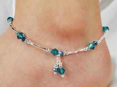 Anklet, Ankle Bracelet, Swarovski Crystal Turquoise Blue, Aqua Crystal, Double Dangle, Beaded, Wedding, Beach, Vacation, Resort