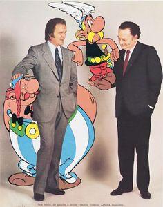 Albert Uderzo et René Goscinny en compagnie d'Astérix et Obélix, photomontage, Dargaud, 1975 BnF, département Littérature et art © Dargaud