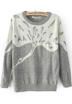 Grey Swan Print Long Sleeve Knit Sweater