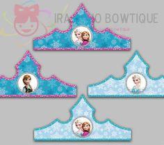 Frozen Paper Crown, Frozen Party Hat, Paper Tiara Printable for Frozen Birthday, Frozen Birthday Party, Party Crown.