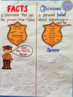 Fact and Opinion Anchor Chart- The blog post contains the sentence strips (FREE) that are on this anchor chart!  If you want to recreate the anchor chart, the images are included!