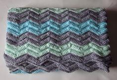 completed crochet chevron blanket