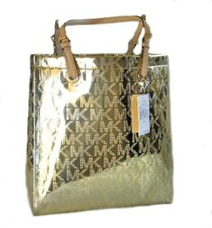 Michael Kors MK Monogram Mirror Metallic Jet Set NS North South Tote Pale Gold