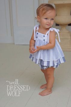 Lucy set by Well Dressed Wolf. Toddler Dress Patterns, Baby Girl Patterns, Girl Dress Patterns, Sewing Patterns, Toddler Outfits, Kids Outfits, Baby Outfits, Baby Girl Fashion, Kids Fashion