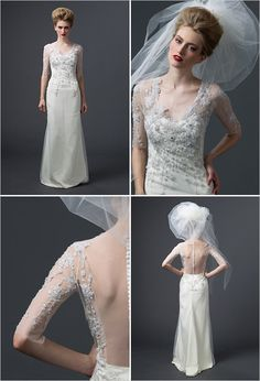 wedding gown with sleeves by Sareh Nouri