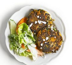 Smoky sweet potato & bean cakes with citrus salad.