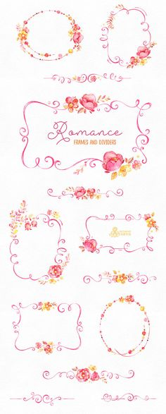 Romance. Frames and Dividers watercolor clipart pink