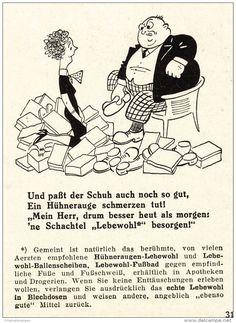 Werbung - Original-Werbung/ Anzeige 1928 - HÜHNERAUGEN- LEBEWOHL (CARTOON) - ca. 75 x 100 mm