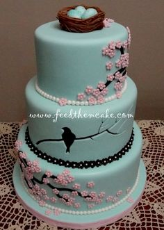 """Cherry Blossom Bird Cake~ The artist of this cake says, """"This was my entry for Denver's ICES show, """"Sweet Times in the Rockies"""". I won place for Adult Intermediate, Tiered Cakes. Gorgeous Cakes, Pretty Cakes, Cute Cakes, Amazing Cakes, Bird Cakes, Cupcake Cakes, Cherry Blossom Cake, Cherry Blossoms, Bolo Cake"""