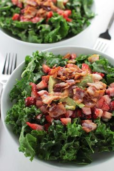 Strawberry Kale Salad - Autoimmune Wellness (Can sub other lettuce/spinach for kale and delete honey)
