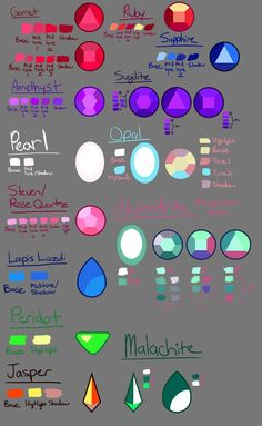 Steven Universe Gem Guide 2 - Gem Color Pallette by DYW14