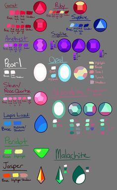 Steven Universe Gem Guide 2 - Gem Color Pallette by DYW14