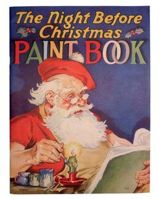 1939 THE NIGHT BEFORE CHRISTMAS Unused Coloring Book VISIT FROM ST. NICHOLAS