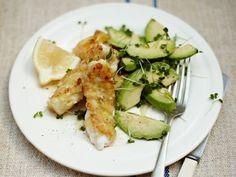 Fish goujons with avocado and cress salad
