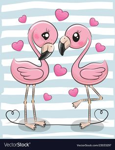 Two Cartoon Flamingos on a blue background. Two Cute Cartoon Flamingos on a blue background stock illustration Cartoon Cartoon, Cute Cartoon Girl, Cute Cartoon Animals, Cute Animals, Kawaii Drawings, Cartoon Drawings, Animal Drawings, Cute Drawings, How To Draw Flamingo