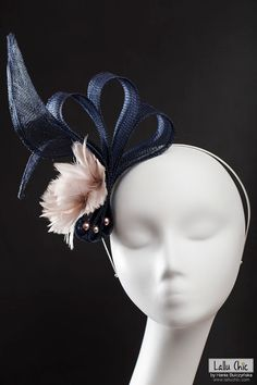 Summer Stylish Navy Blue Hatinator Fascinator DONNA Feather Sinamay Pearls Party Wedding Royal Ascot Derby Headpiece Extravagant