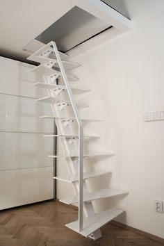 Photo gallery of Unique staircases design. Beautiful original stairs in many pictures and images. In photo gallery you find pictures of staircase construcion types, treads, railings and materials including surface finishing details Staircase Metal, Small Staircase, Loft Staircase, Cottage Stairs, Tiny House Stairs, Home Stairs Design, House Design, Small Space Stairs, Balustrades