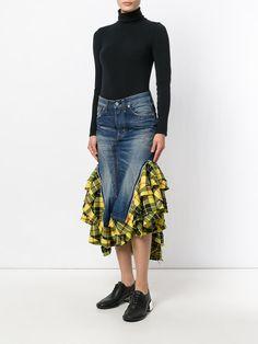 Junya Watanabe Comme Des Garçons Saia jeans com babado Maxi Skirt Tutorial, Denim Fashion, Fashion Outfits, Denim Skirt Outfits, Mode Jeans, Denim Ideas, Moda Online, Ladies Dress Design, Diy Clothes