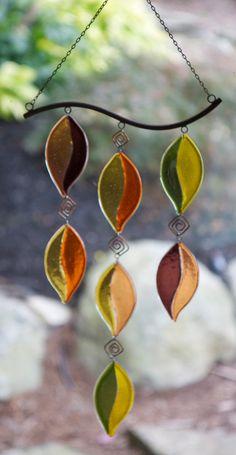 Autumn, Fall, Leaves,Fused Glass Wind Chime, Sun Catcher, Wind Chime, Zen, Sun…