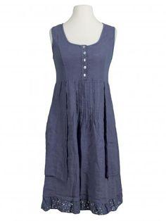 Damen Leinenkleid mit Spitze, blau