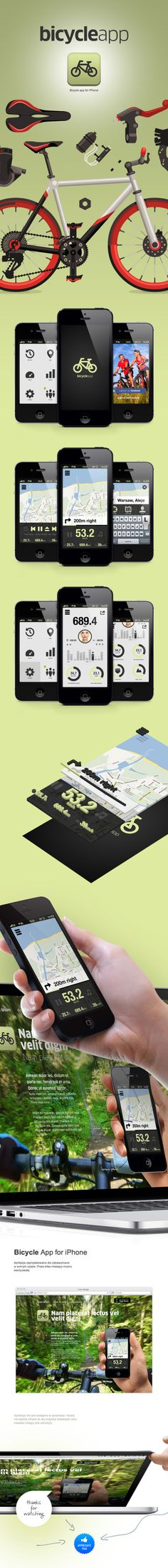 Bicycle application for the iPhone *** #app #gui #ui #behance