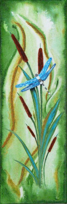 """""""Wings Of Glass"""" acrylic stucco cattail/Dragonfly painting"""