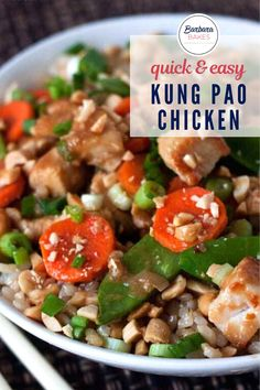 A favorite dish at Chinese restaurants that is quick and easy (and healthier) to make at home. #BarbaraBakes #kungpaochicken #easychickenrecipe #easykungpaochicken