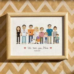 Large (and sunlit☀) portrait of an Australian family! Here are mothers, fathers, sisters, brothers, daughters, sons, uncles and aunts and even a grandmother!In the next post I'll show details and maybe real people vs their cross stitch characters too.☺