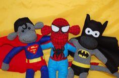 Handmade Batman/Superman/Spiderman Sock by ChimplyMarvellous