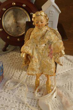 Angel gold Cotton Batting Christmas Ornament  Spun Cotton