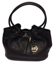 Women's Top-Handle Handbags - Michael Kors Ring Tote MD EW Black Leather -- Click image to review more details.