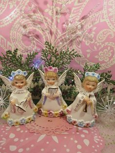 Vtg Christmas Angels W Pastel Floral Tiara Halos Pearl Trim SET OF 3 NIPPON