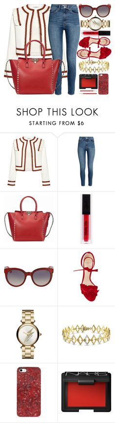 """Red Details"" by jomashop ❤ liked on Polyvore featuring Ganni, Valentino, Gucci, Alexandre Birman, Marc Jacobs, Versace 19•69, NARS Cosmetics, Lancôme and red"