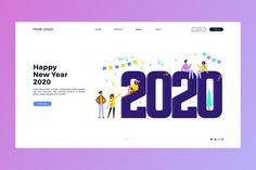 New year landing page in flat design New Years Poster, Graphic Design Trends, Happy New Year 2020, Flat Illustration, Flat Design, Landing, Vector Free, Flats, Vectors