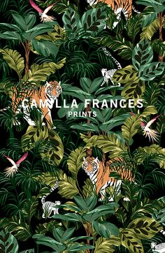 "Képtalálat a következőre: ""camilla frances prints"" Jungle Art, Drawn Art, Tropical Pattern, Surface Pattern Design, Art Inspo, Print Patterns, Street Art, Illustration Art, Floral Prints"