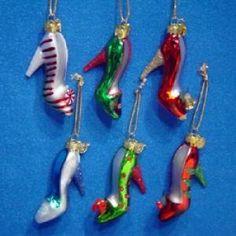 """Shoe"" Christmas Ornaments (glass ornaments) Christmas Shoes, Christmas Holidays, Christmas Ornaments, Christmas Stuff, Christmas Ideas, Glass Shoes, High Heels, Shoes Heels, Glass Slipper"