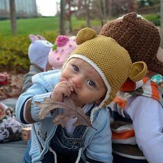 5723061650b Organic Tan Crochet Baby Bear with Ears Animal Hat