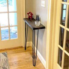 Narrow Console Table Farmhouse Foyer Bench 28 Hairpin | Etsy Narrow Sideboard, Sideboard Table, Narrow Console Table, Rustic Sideboard, Narrow Bench, Rustic Hallway Table, Foyer Bench, Rustic Table, Rustic Laundry Rooms
