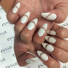 White Matte + Negative Space Stiletto Nail Design