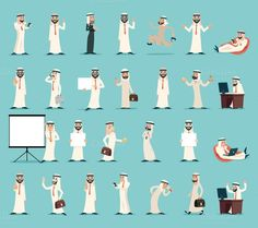 Buy Arab Businessman Character Icons Set Retro Vintage by Meilun on GraphicRiver. Arab Businessman and Character Icons Set Retro Vintage Cartoon Design Vector illustration Arabic Characters, Iconic Characters, Girls Characters, Character Design Girl, Character Design References, Vintage Cartoon, Retro Vintage, Islamic Cartoon, Arab Girls
